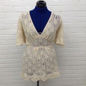 Catherine Malendrino Alpaca Crochet Sweater Dress